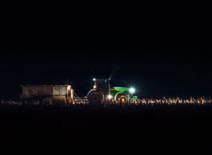 tractor at night