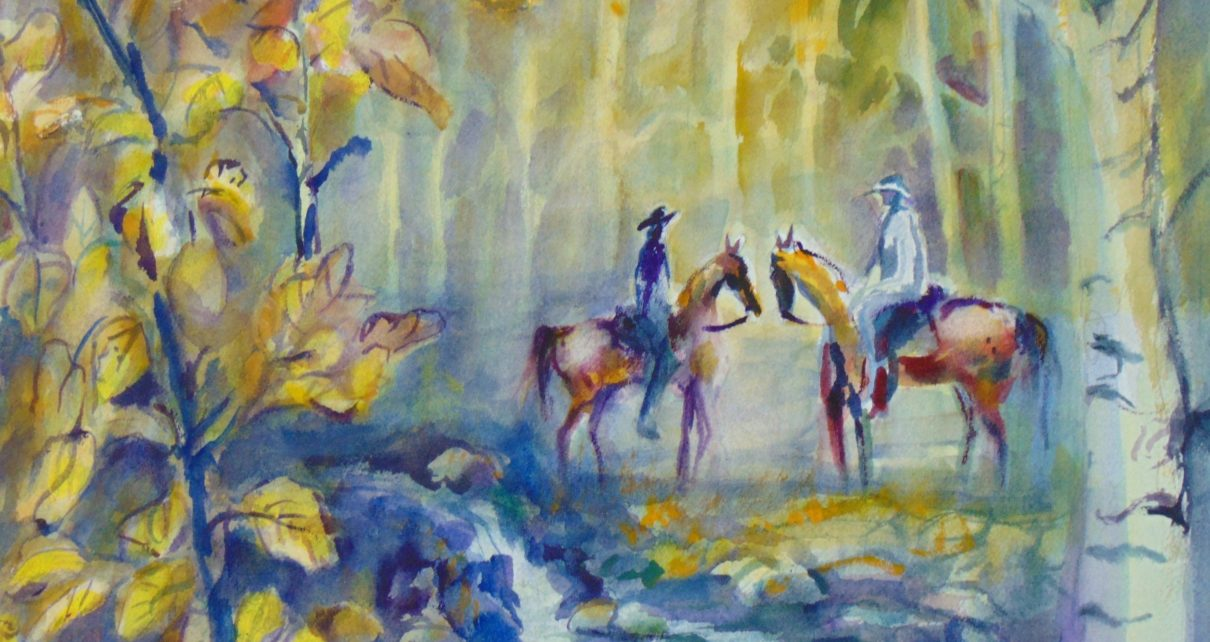 horses in forest
