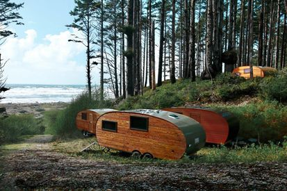 Trailers in forest