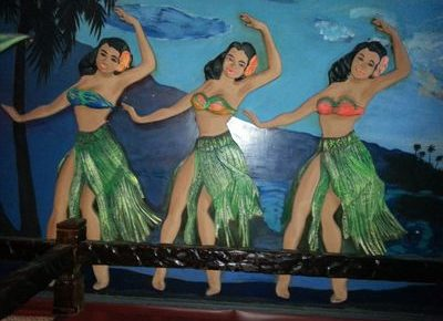 Polynesian dancers on wall