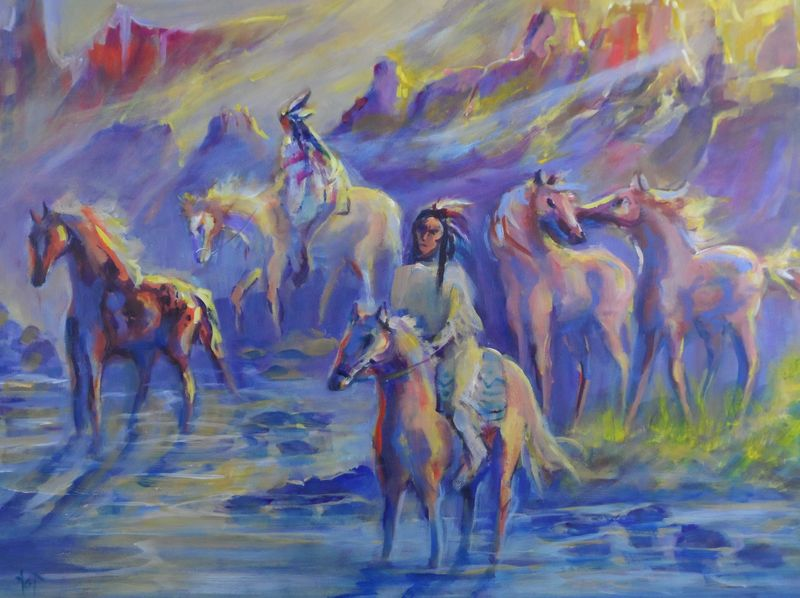Indians and horses crossing canyon