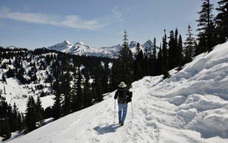 Man cross country skiing